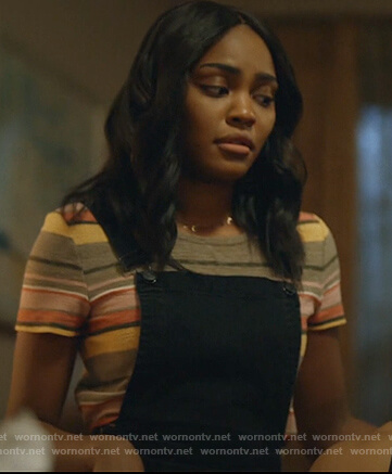 Jennifer's multicolored striped tee on Black Lightning