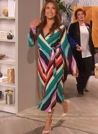 Carrie's striped wrap dress on The Talk