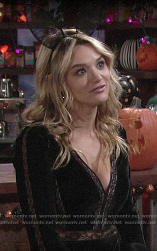 Summer's black velvet and lace Halloween dress on The Young and the Restless