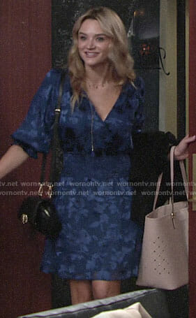 Summer's blue smocked waist dress on The Young and the Restless