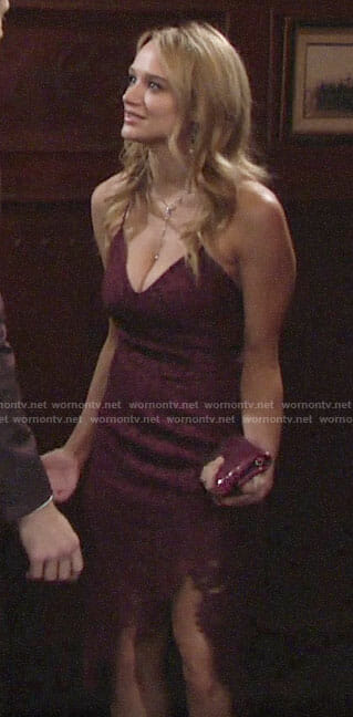 Summer's burgundy lace dress on The Young and the Restless
