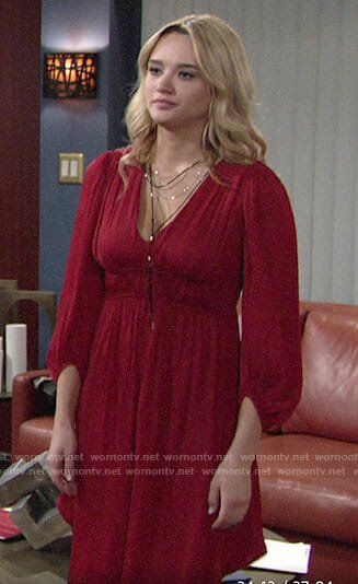 Summer's red v-neck dress on The Young and the Restless