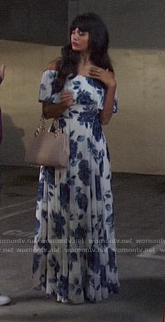 Tahani's blue floral off-shoulder dress on The Good Place