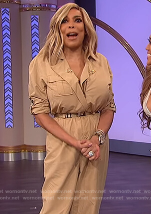 Wendy's beige utility jumpsuit on The Wendy Williams Show