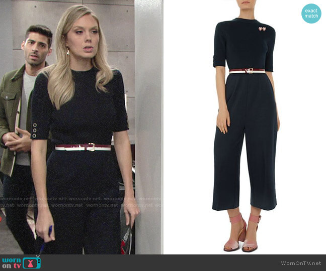 Ted Baker Colour by Numbers Lesliee Wide-Leg Jumpsuit worn by Abby Newman (Melissa Ordway) on The Young & the Restless
