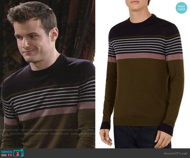 Ted Baker Giantbu Striped Crewneck Sweater worn by Kyle Abbott (Michael Mealor) on The Young & the Restless