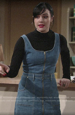 Tessa's black turtleneck and denim zip-front dress on The Young and the Restless