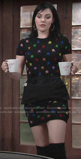 Tessa's rainbow star print dress on The Young and the Restless