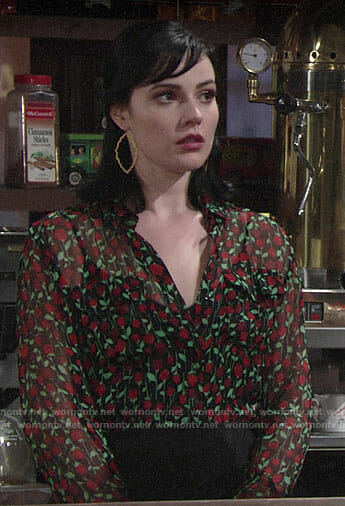 Tessa's rose print blouse on The Young and the Restless