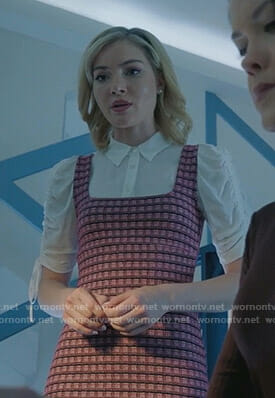 The Frost Sisters' pink checked mini dress on The Gifted