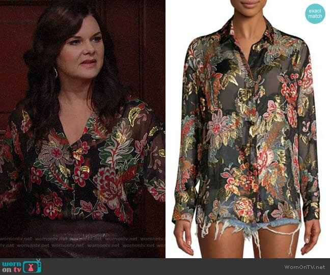 The Kooples Bollywood Metallic Floral Blouse worn by Heather Tom on The Bold & the Beautiful