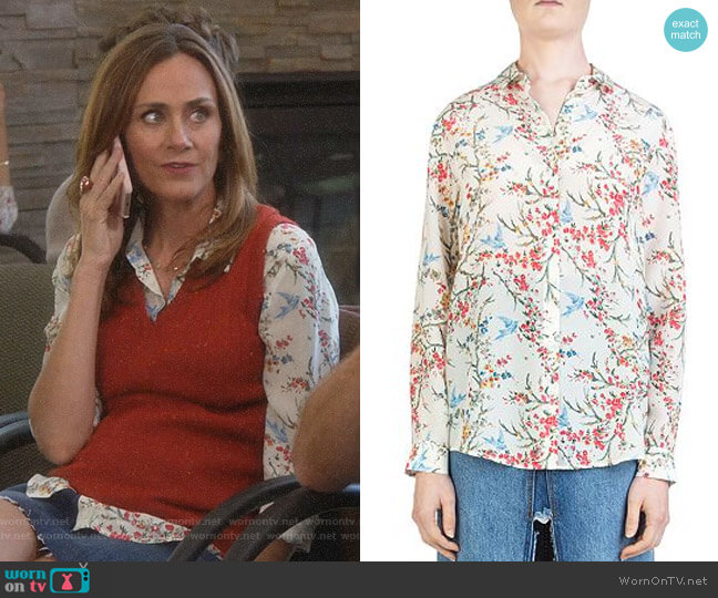 Bird Avian & Floral-Print Silk Shirt by The Kooples worn by Maya (Diane Farr) on Splitting Up Together
