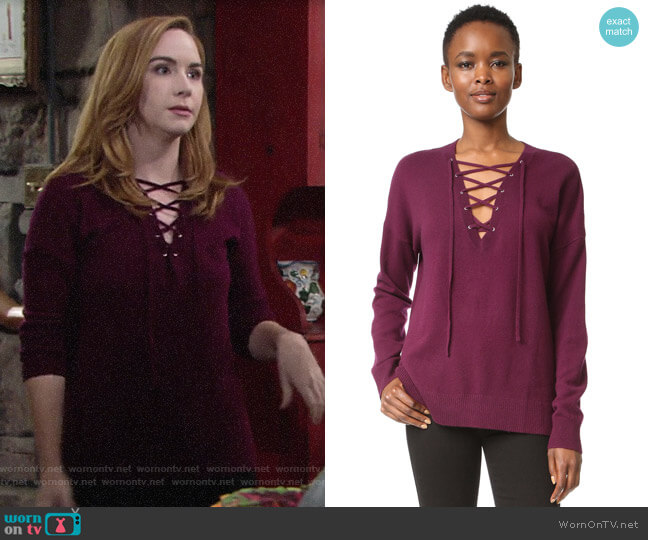 The Kooples Lace-up Pullover worn by Mariah Copeland (Camryn Grimes) on The Young & the Restless