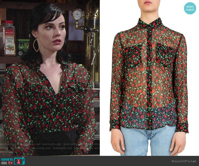 The Kooples Rosa Rosa Sheer Button-Down Shirt worn by Tessa Porter (Cait Fairbanks) on The Young & the Restless