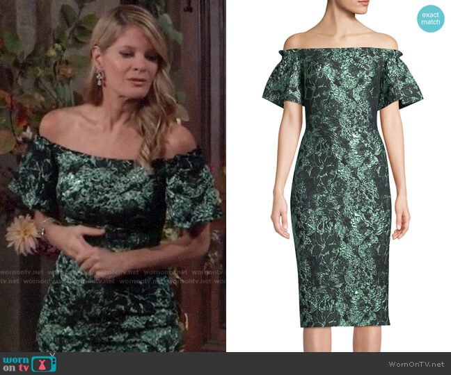 Theia Off-the-Shoulder Metallic Tissue Cloque Dress worn by Nina Reeves (Michelle Stafford) on General Hospital