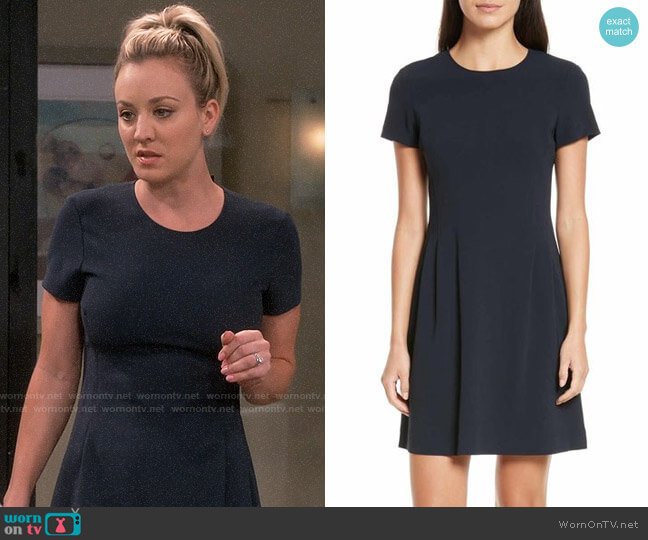 2ef68994c7f Theory Corset Admiral Crepe T-Shirt Dress worn by Penny Hofstadter (Kaley  Cuoco)