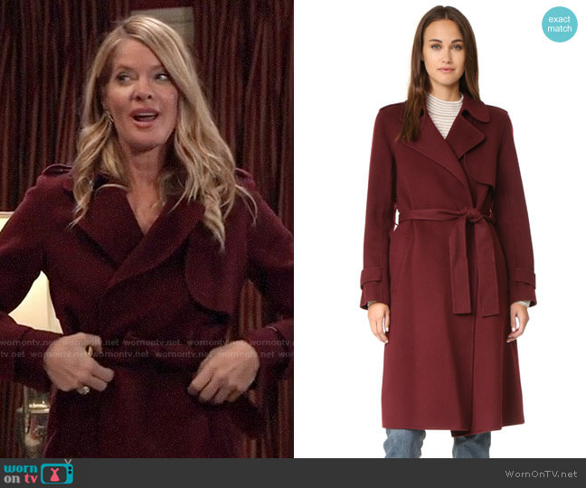 Theory Oaklane Trench worn by Nina Reeves (Michelle Stafford) on General Hospital