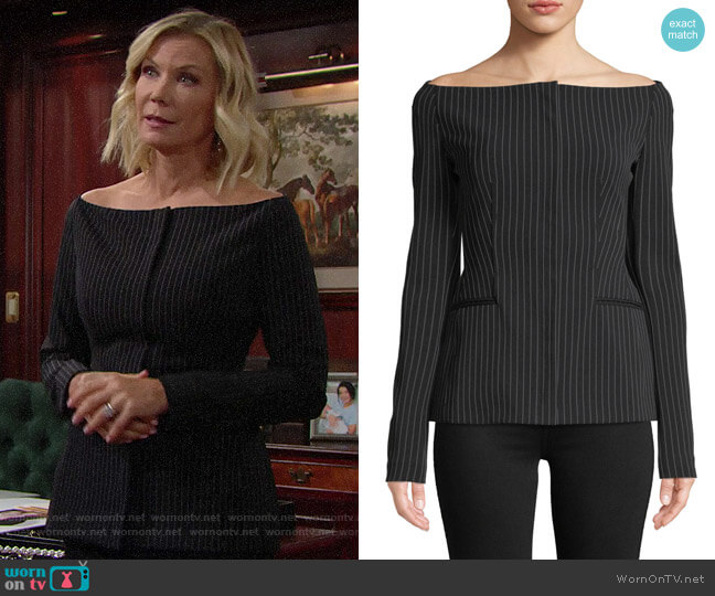 Theory Off-the-Shoulder Pinstripe Jacket worn by Brooke Logan (Katherine Kelly Lang) on The Bold & the Beautiful