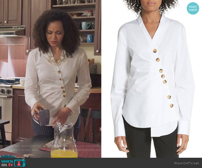 Tibi Asymmetrical Large Button Top worn by Macy Vaughn (Madeleine Mantock) on Charmed