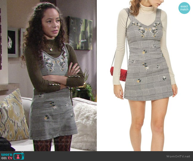 Topshop Embroidered Gingham Pinafore Dress worn by Mattie Ashby (Lexie Stevenson) on The Young & the Restless
