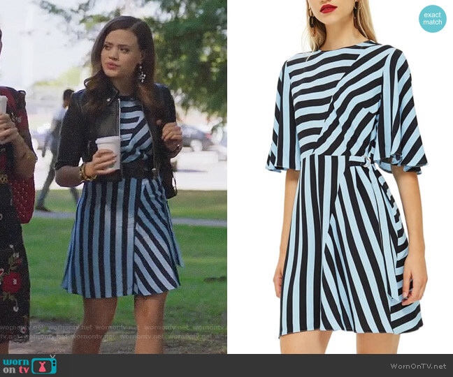 Topshop Diagonal Stripe Minidress worn by Maggie Vera (Sarah Jeffery) on Charmed
