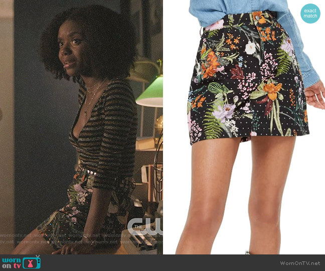 Topshop Floral Crystal Denim Skirt worn by Josie McCoy (Ashleigh Murray) on Riverdale