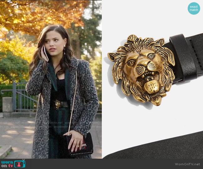 Topshop Lion Buckle Waist Belt worn by Maggie Vera (Sarah Jeffery) on Charmed