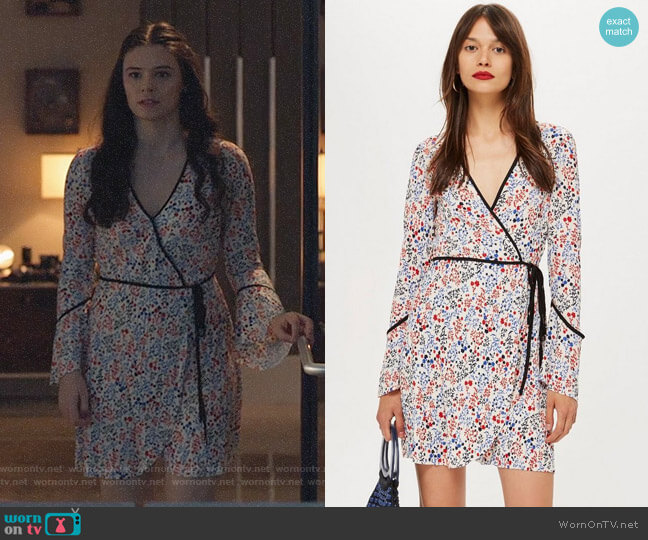 Topshop Plisse Print Wrap Mini Dress worn by Nia Nal (Nicole Maines) on Supergirl