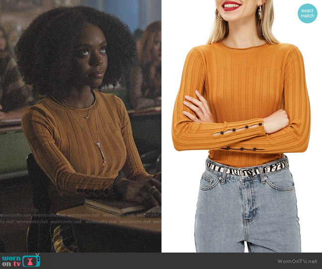 Topshop Mustard Ribbed Sweater worn by Josie McCoy (Ashleigh Murray) on Riverdale