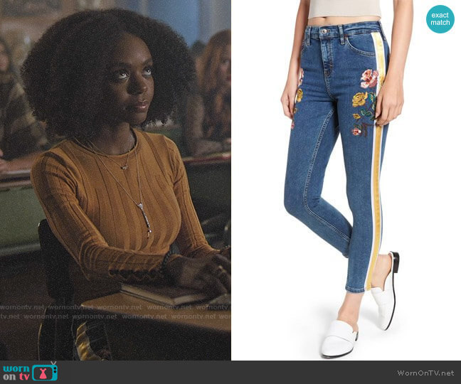 Topshop Stripe Floral Denim Pants worn by Josie McCoy (Ashleigh Murray) on Riverdale