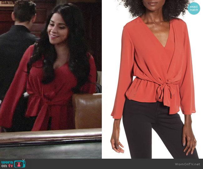 167a07e77549 Topshop Tiffany Asymmetrical Blouse worn by Mia Rosales (Noemi Gonzalez) on  The Young &