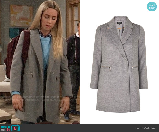 Topshop Zip Grey Coat worn by Josslyn Jacks (Eden McCoy) on General Hospital