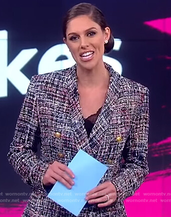 Abby's tweed double breasted blazer on The View