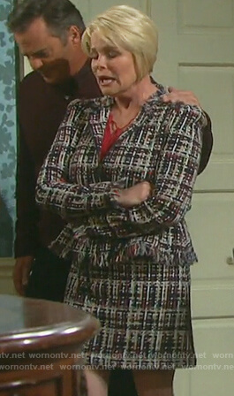 Bonnie's multicolored tweed jacket and skirt on Days of our Lives
