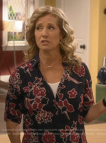 Vanessa's blue and red floral shirt on Last Man Standing