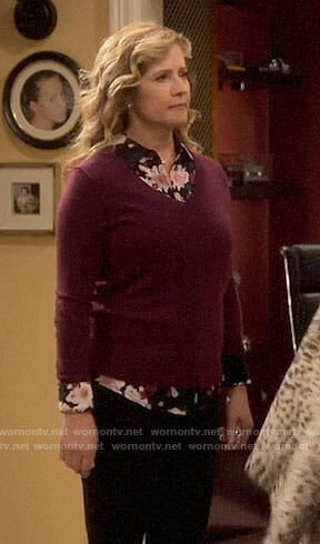 Vanessa's black floral shirt and burgundy sweater on Last Man Standing
