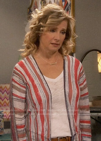 Vanessa's painted stripe cardigan on Last Man Standing