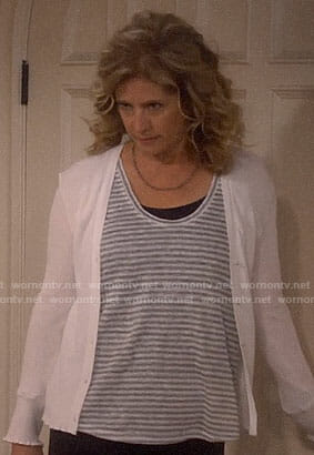 Vanessa's grey striped top and white cardigan on Last Man Standing