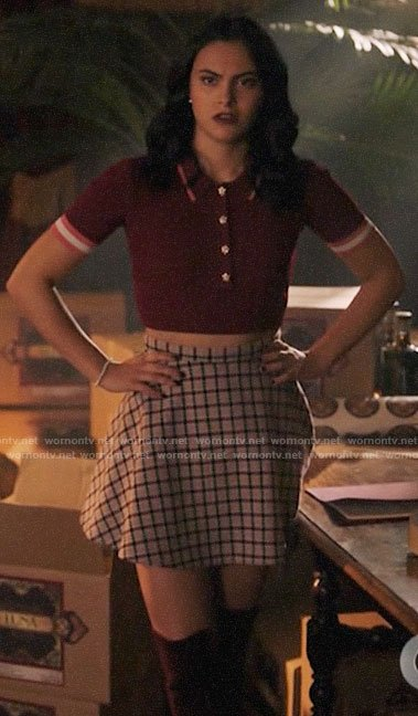 Veronica's cropped burgundy polo top on Riverdale