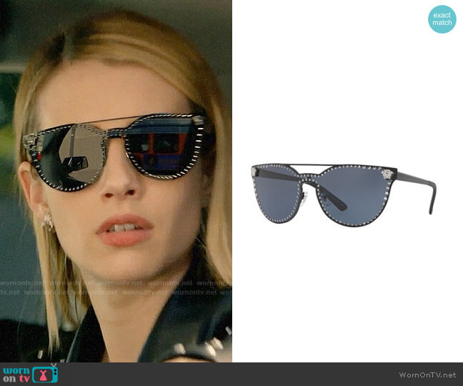 0430118fe30 Versace Studded Flat-Top Wrap Sunglasses worn by Madison Montgomery (Emma  Roberts) on