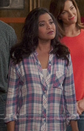 Vicky's plaid shirt on The Good Place