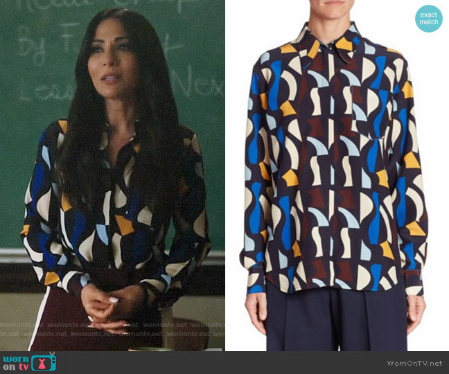 Victoria Beckham Silk Button-Front Shirt worn by Hermione Lodge (Marisol Nichols) on Riverdale