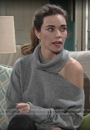 Victoria's grey shoulder cutout turtleneck sweater on The Young and the Restless