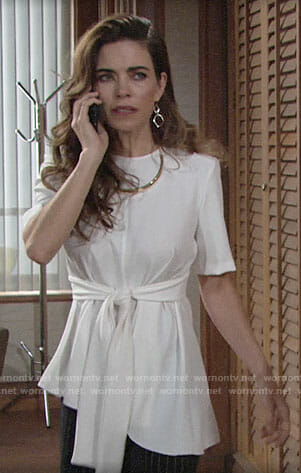Victoria's white tie-waist top on The Young and the Restless