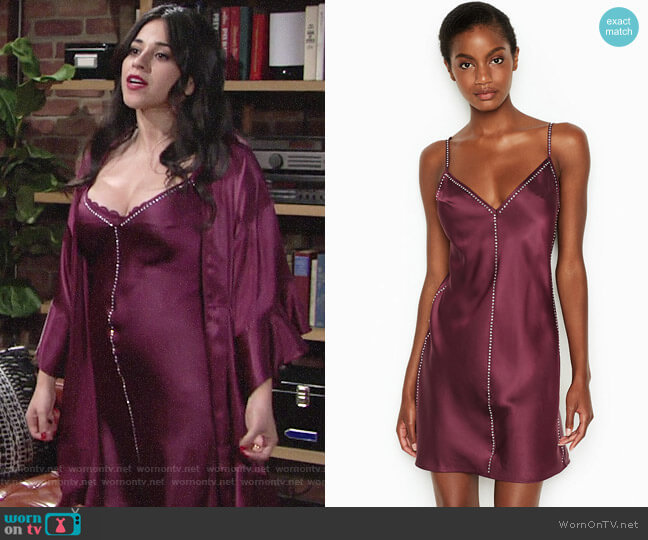 Victorias Secret Satin & Rhinestone Slip worn by Mia Rosales (Noemi Gonzalez) on The Young & the Restless
