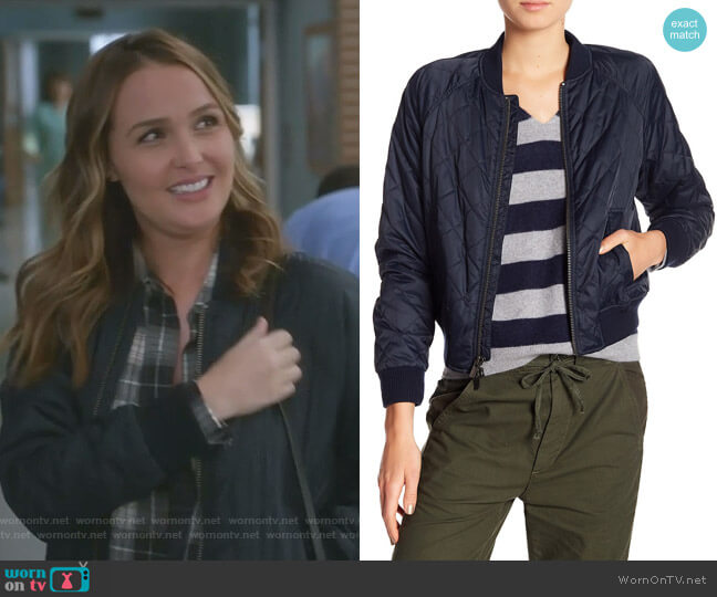 Quilted Bomber Jacket by Vince worn by Camilla Luddington on Greys Anatomy