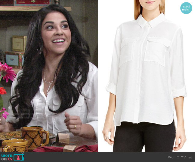 Vince Camuto Roll Sleeve Utility Shirt worn by Noemi Gonzalez on The Young & the Restless
