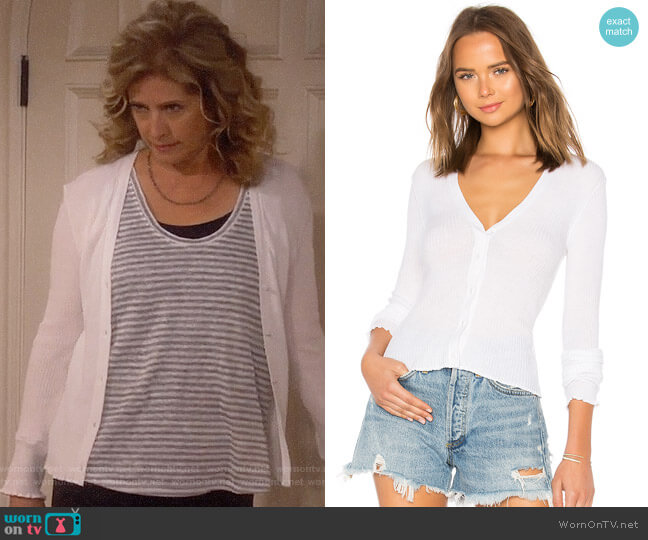 Vince Lettuce Edge Cardigan worn by Vanessa Baxter (Nancy Travis) on Last Man Standing