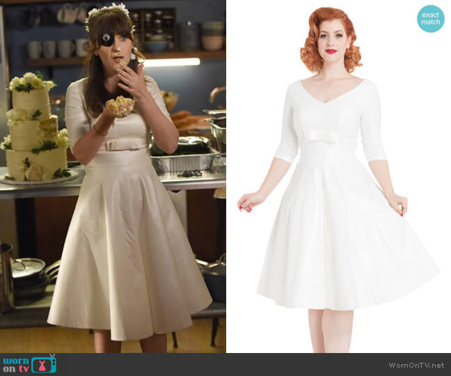 Voodoo Vixen Dorothy Bridal Flared Dress worn by Zooey Deschanel on New Girl