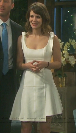 Sarah's white bow shoulder sleeveless dress on Days of our Lives